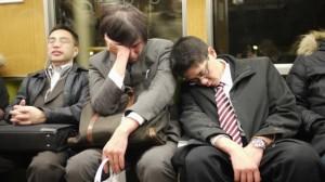 Japanese salary men on the train