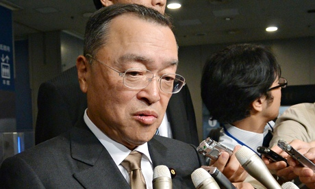 Industry minister Yoichi Miyazawa answers questions from the media about the scandal